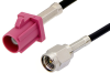 SMA Male to Violet FAKRA Plug Cable 48 Inch Length Using PE-C100-LSZH Coax -- PE39342H-48 -Image