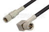 10-32 Male to 10-32 Male Right Angle Cable 24 Inch Length Using RG174 Coax, RoHS -- PE36526LF-24 -Image