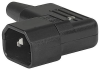 IEC Plug E, Cord Connector (Rewireable), Angled, max. Cable Diameter 8.5 mm