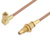 SSMC Plug Right Angle to SSMC Jack Bulkhead Cable 18 Inch Length Using RG178 Coax -- PE3C4458-18 -Image