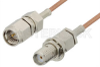 SMA Male to SMA Female Bulkhead Cable 12 Inch Length Using RG178 Coax -- PE3959-12 -Image