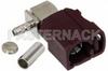 FAKRA Jack Right Angle Connector Crimp/Solder Attachment for RG174, RG316, RG188, .100 inch, PE-B100, PE-C100, LMR-100, Bordeaux Color -- PE44648D -Image