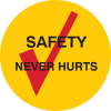 Brady B-946 Black / Red on Yellow Circle Vinyl Hard Hat Label - Printed Text = SAFETY NEVER HURTS - 42273 -- 754476-42273