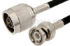 N Male to BNC Male Cable 12 Inch Length Using RG58 Coax, RoHS -- PE3042LF-12 -Image