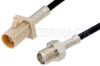 SMA Female to Beige FAKRA Plug Cable 24 Inch Length Using RG174 Coax -- PE39345I-24 -Image