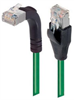 Shielded Category 6 Right Angle Patch Cable, Straight/Right Angle Up, Green, 15.0 ft -- TRD695SRA2GR-15 -Image
