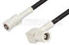 SMB Plug to SMB Plug Right Angle Cable 12 Inch Length Using PE-B100 Coax -- PE34490LF-12 -Image