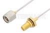 SMA Male to SMA Female Bulkhead Cable 24 Inch Length Using PE-SR047AL Coax -- PE3382LF-24 -Image