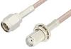SMA Male to SMA Female Bulkhead Cable 6 Inch Length Using 75 Ohm RG179 Coax, RoHS -- PE3967LF-6 -Image
