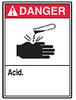 ANSI Sign, Danger-Acid, 14