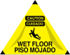 Brady Triangle Yellow Fall Prevention Sign x 31 in Height - Language English / Spanish - TEXT: CAUTION WET FLOOR / CUIDADO PISOMOJADO - 47382 -- 754476-47382