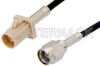 SMA Male to Beige FAKRA Plug Cable 12 Inch Length Using PE-C100-LSZH Coax -- PE39342I-12 -- View Larger Image