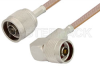 N Male to N Male Right Angle Cable 12 Inch Length Using RG400 Coax -- PE33321-12 -Image