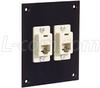 Universal Sub-Panel Black, 2 Ivory Feed-Thru Couplers, RJ11 (6x4) Straight -- USP2ECF4SB -Image