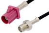 SMA Female to Violet FAKRA Plug Cable 12 Inch Length Using RG174 Coax -- PE39345H-12 -Image
