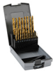 Jobber Drill Bit Set: HSS, TiN coated, sizes 1/16 to 3/8 inch, 21-pc -- 250850TRO -- View Larger Image