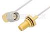 SMA Male Right Angle to SMA Female Bulkhead Cable 6 Inch Length Using PE-SR047AL Coax -- PE34305LF-6 -Image