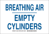 Brady B-555 Aluminum Rectangle White Breathing Apparatus Sign - 14 in Width x 10 in Height - TEXT: BREATHING AIR EMPTY CYLINDERS - 125598 -- 754473-73303