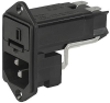 IEC Appliance Inlet C14 with Fuseholder 1- or 2-pole and Voltage Selector