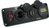 Blue Sea Systems 4356 Panel with Dual USB Charger, Mini Voltmeter, 12V Socket -- 78033 -Image