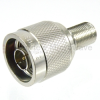 50 Ohm N Male (Plug) to 75 Ohm F Female (Jack) Adapter,Nickle Plated Brass Body -- SM4612 - Image