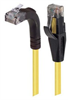 Category 5E Right Angle Patch Cable, Straight/Right Angle Up, Yellow, 10.0 ft -- TRD815RA2Y-10 -Image