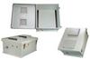 18x16x08 Fiberglass Reinf Polyester FRP Weatherproof Outdoor IP24 NEMA 3R Enclosure, Modified Base DIN Rail Mount Vented Lid Gray -- TEF181608-00VDR -Image