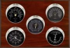 Professional, Nickel cases, Black dials, Mahogany panel