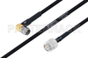 MIL-DTL-17 SMA Male Right Angle to TNC Male Cable 60 Inch Length Using M17/84-RG223 Coax -- PE3M0055-60 -Image