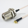 N Female Bulkhead to RA MMCX Plug Cable RG-316 Coax in 6 Inch and RoHS -- FMC1119315LF-06 -Image