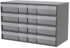 Akro-Mils Akrodrawers 120 lb Charcoal Gray Powder Coated, Textured Stackable Cabinet - 17 in Overall Length - 35 in Width - 22 in Height - 8 Drawer - Non-Lockable - AD3517CAST2 CLEAR -- AD3517CAST2 CLEAR