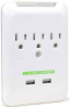 ConnectLand 3-Outlet Wall Surge Protector w/2 USB Ports -- CL-ADA-60006-BP -- View Larger Image