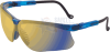 Uvex Genesis Safety Glasses with Vapor Blue Frame and Mirror -- s3243