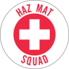Brady B-946 Red on White Circle Vinyl Hard Hat Label - Printed Text = HAZ MAT SQUAD - 49578 -- 754476-49578