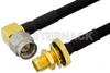 SMA Male Right Angle to SMA Female Bulkhead Semi-Flexible Precision Cable 18 Inch Length Using PE-SR402FLJ Coax, LF Solder, RoHS -- PE39442-18 -Image