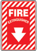 MFXG417VP - Safety Sign, Fire Extinguisher, Arrow Down, 7