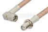 SMA Male Right Angle to SMA Female Bulkhead Cable 18 Inch Length Using PE-P195 Coax -- PE33749-18 -Image
