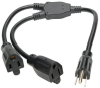Extension Cord Y Splitter, NEMA 5-15P to 2x NEMA 5-15R - 13A, 120V, 16 AWG, 18 in., Black -- P024-18N-13A-2R