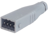 Rectangular Field Attachable Power Connector (ST Series): Male, straight with strain relief , 4-pin+PE, grey housing, 400 V AC/230 V DC, 10 A -- STAS 4 N grey - Image