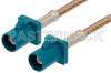 Water Blue FAKRA Plug to FAKRA Plug Cable 48 Inch Length Using RG316 Coax -- PE38755Z-48 -Image