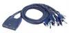 Aten Integrated Cable 4 port KVM Switch USB w/audio -- CS64US - Image