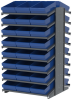 Akro-Mils 1800 lb Blue Gray Powder Coated Steel 16 ga Double Sided Fixed Rack - 36 3/4 in Overall Length - 48 Bins - Bins Included - APRD18118 BLUE -- APRD18118 BLUE - Image