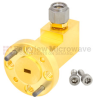 WR-10 to 1.0mm Male Waveguide to Coax Adapter UG-387/U-Mod Round Cover Standard with 75 GHz to 110 GHz W Band in Aluminum, Gold -- SMW10AC001-VM - Image