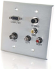 Double Gang HD15 VGA + 3.5mm + Composite Video + Stereo Audio + S-Video Wall Plate - Brushed Aluminum -- 2225-40507-ADT - Image