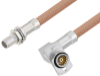 Slide-On BMA Plug Bulkhead to Slide-On BMA Jack Right Angle 2 Hole Flange Cable 24 Inch Length Using RG400 Coax -- PE3C4954-24 -Image