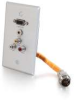 RapidRun® Single Gang Integrated HD15 + 3.5mm + RCA Audio/Video Wall Plate - Brushed Aluminum -- 2212-60032-001