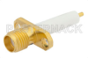 SMA Female Connector Solder Attachment 2 Hole Flange Mount Stub Terminal, .481 inch Hole Spacing, .050 inch Diameter, Gold Plated -- PE4128 -Image
