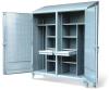 Double Shift Cabinet w/ Hooks & Pegboard -- 66-DSW/PB-248-2DB-SL-DIV -- View Larger Image
