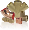 Lead-Free Cast DZR Brass Fittings - 90° Drop Ear Elbow C x F -- 707-3-5-LF - Image