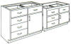 Standard Steel Laboratory Cabinet, (1) Door-Drawer & (_) Drawers -- 150 Series